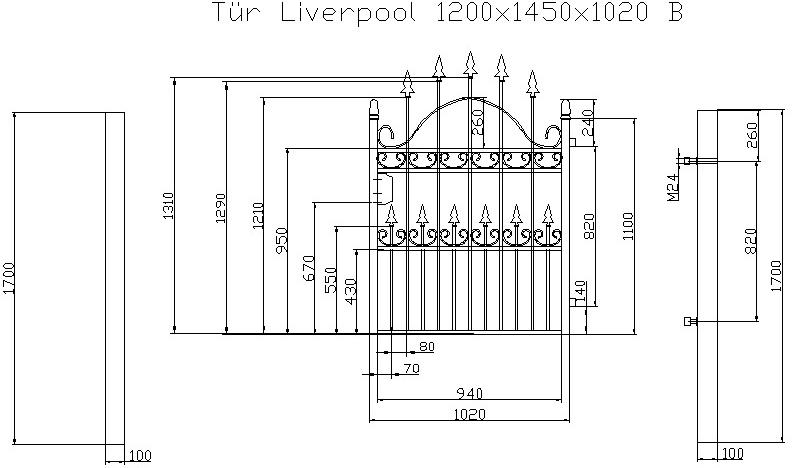 Beispiel: Technische CAD Zeichnung Eingangstor Liverpool